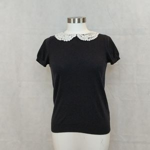 Forever 21 Black Top with Lace Collar
